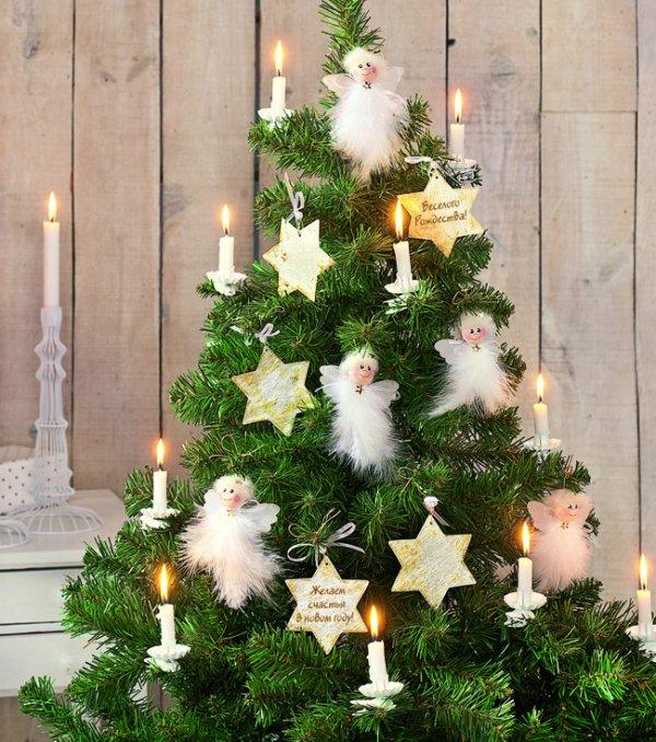 романтичный стиль украшения елки